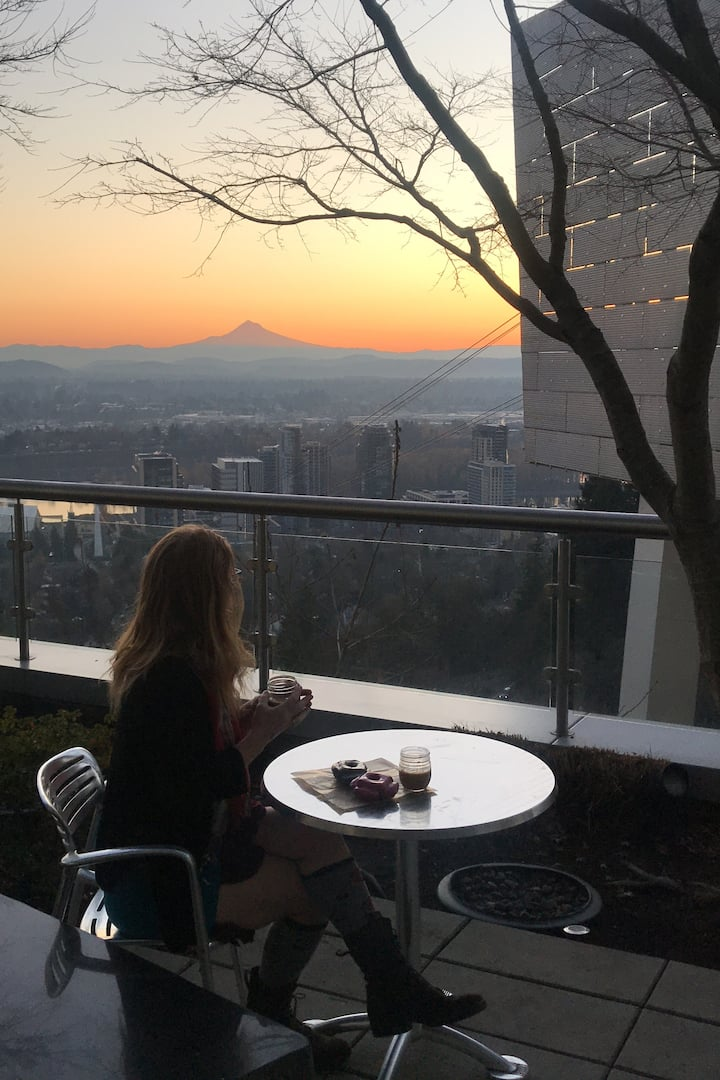 Doughnuts and coffee with a view