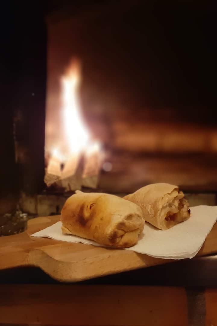 Handmade bread baked in the wood ove