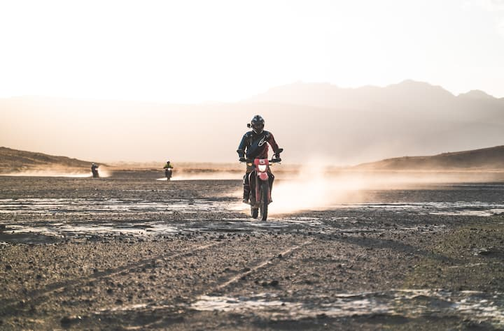 Riding on the shores of lake Natron