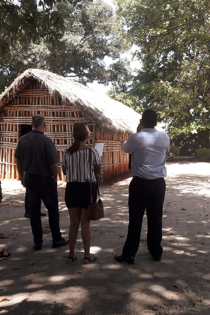 Guests admiring the tribal houses.