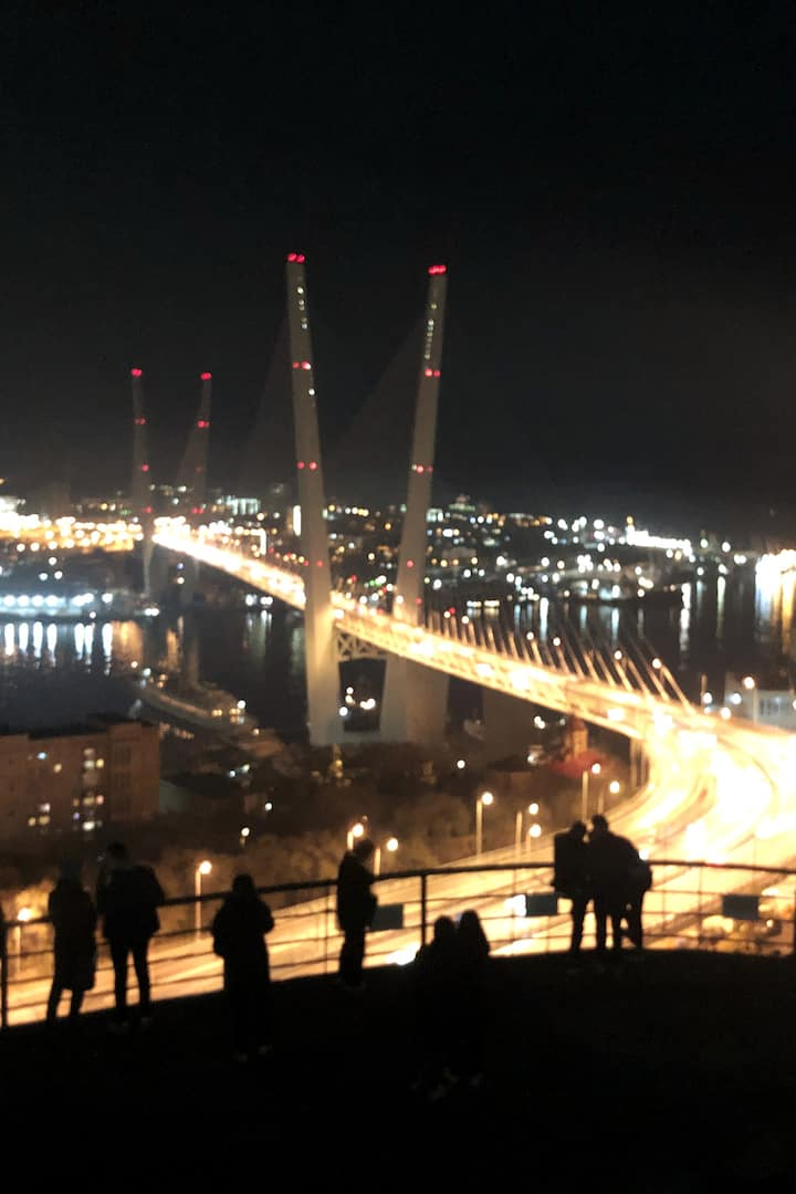 Golden Bridge at night lights