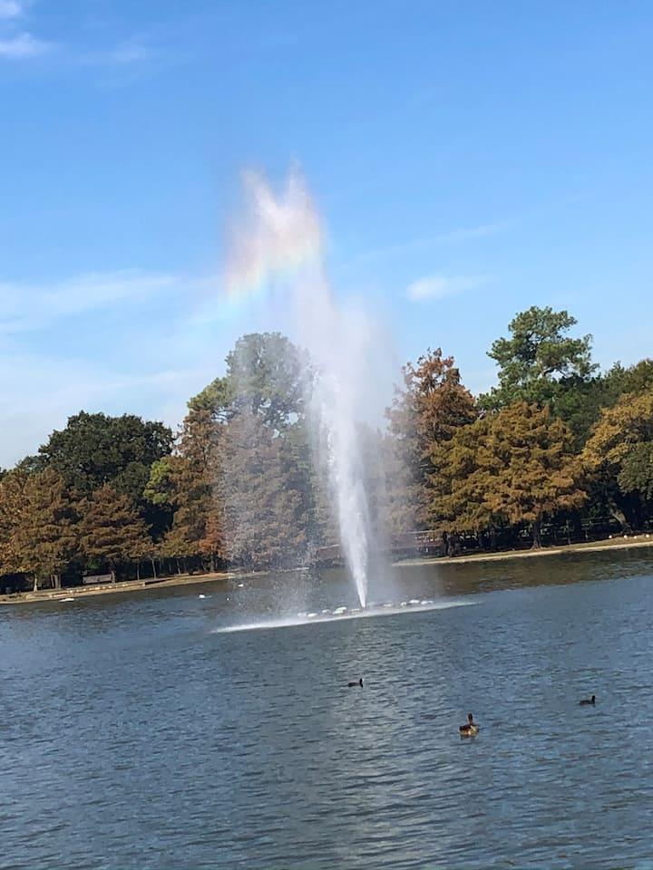 Fountain along the walk