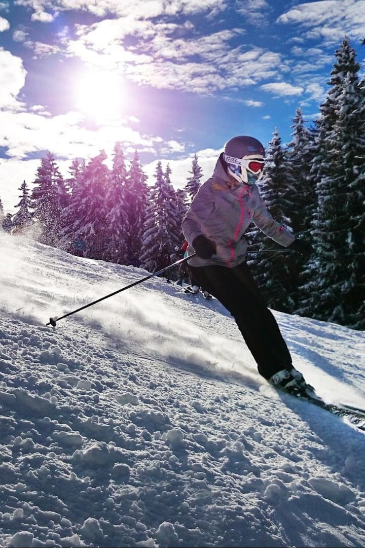 Enjoying skiing
