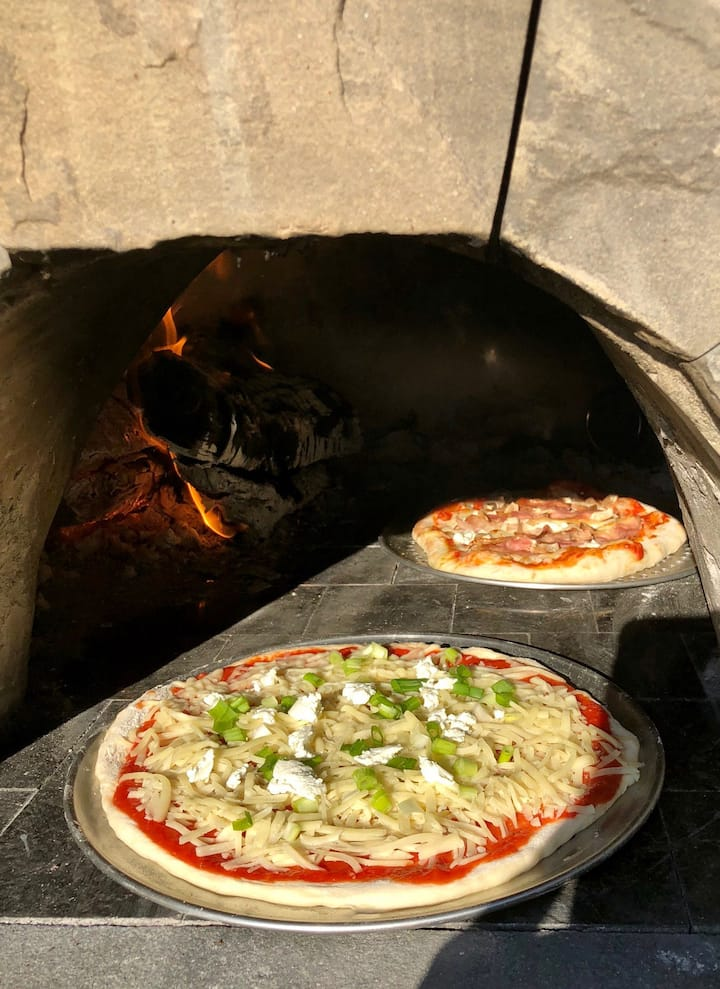 Gourmet pizza enter the outdoor oven