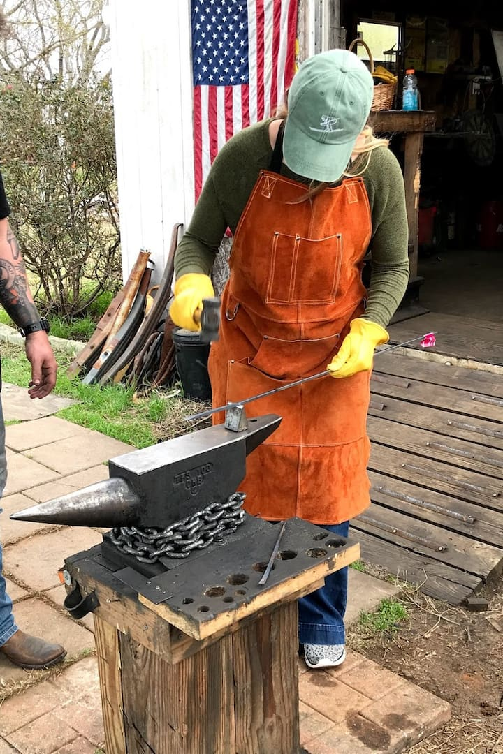 using cutter tool on the outdoor anvil
