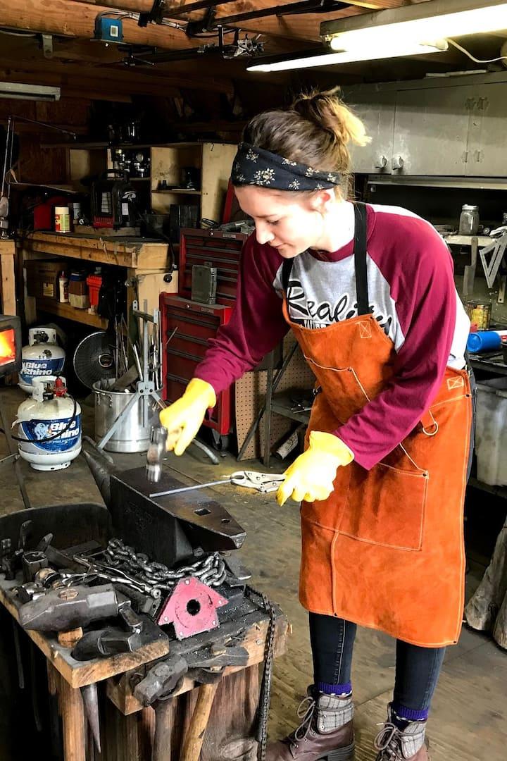 forging hot metal