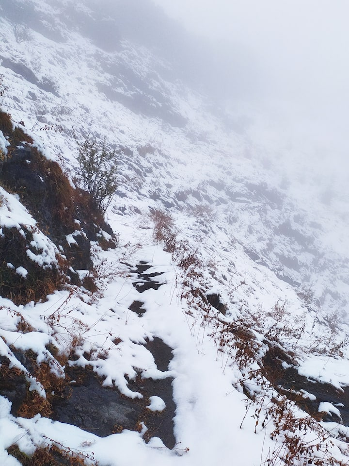 Trail to top Tibba in Winter Snow