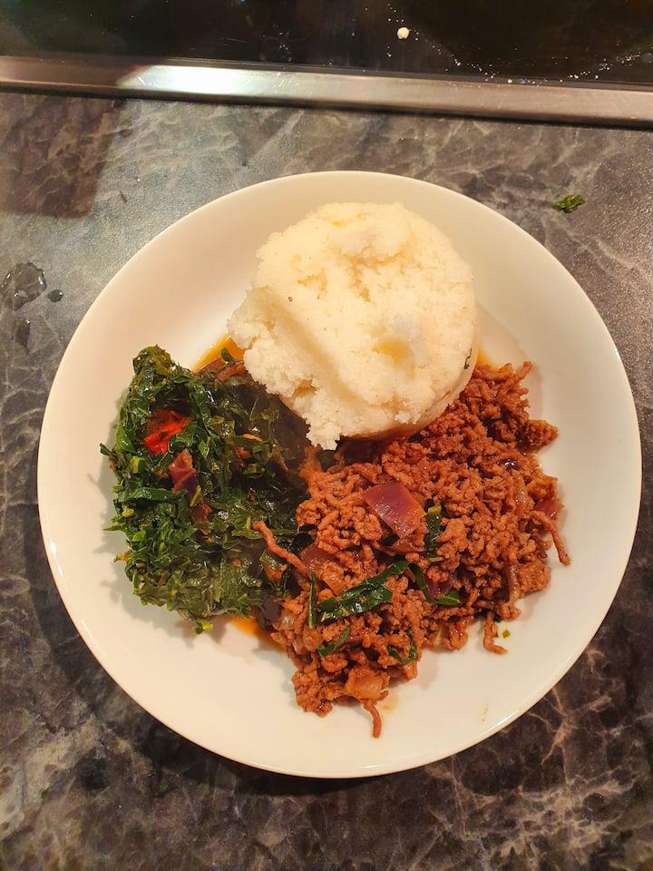 Ugali, sukuma wiki and beef stew