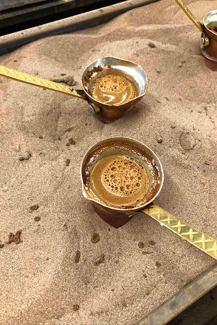 Hot boiled coffee