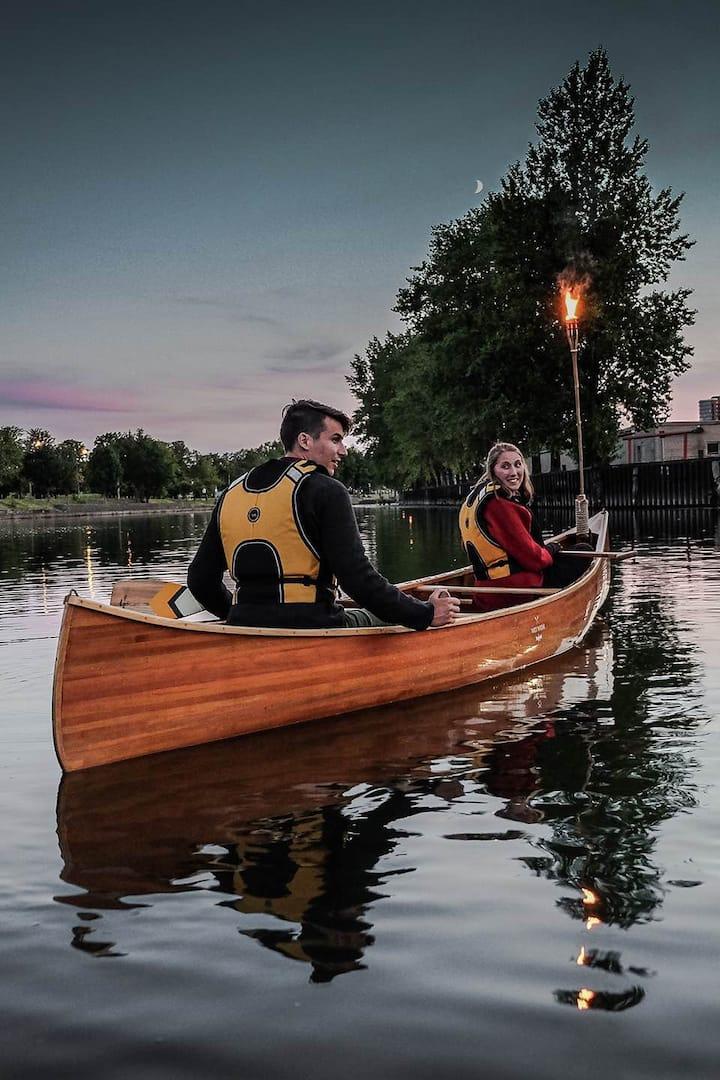 Real cedar canoe