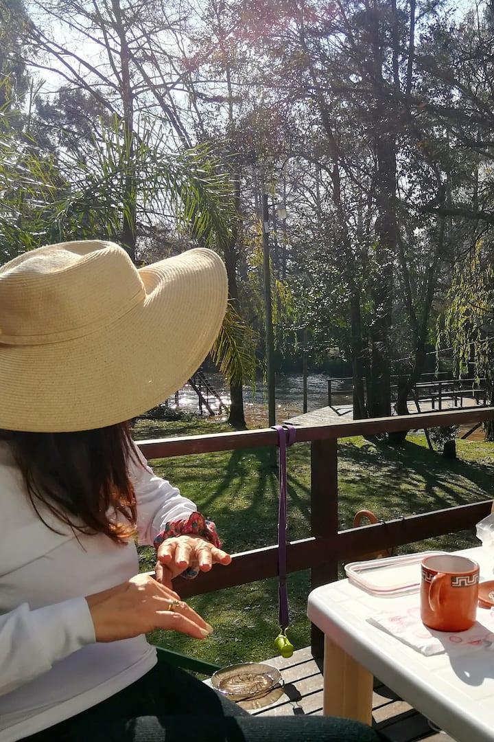 Having tea at the palafito's deck