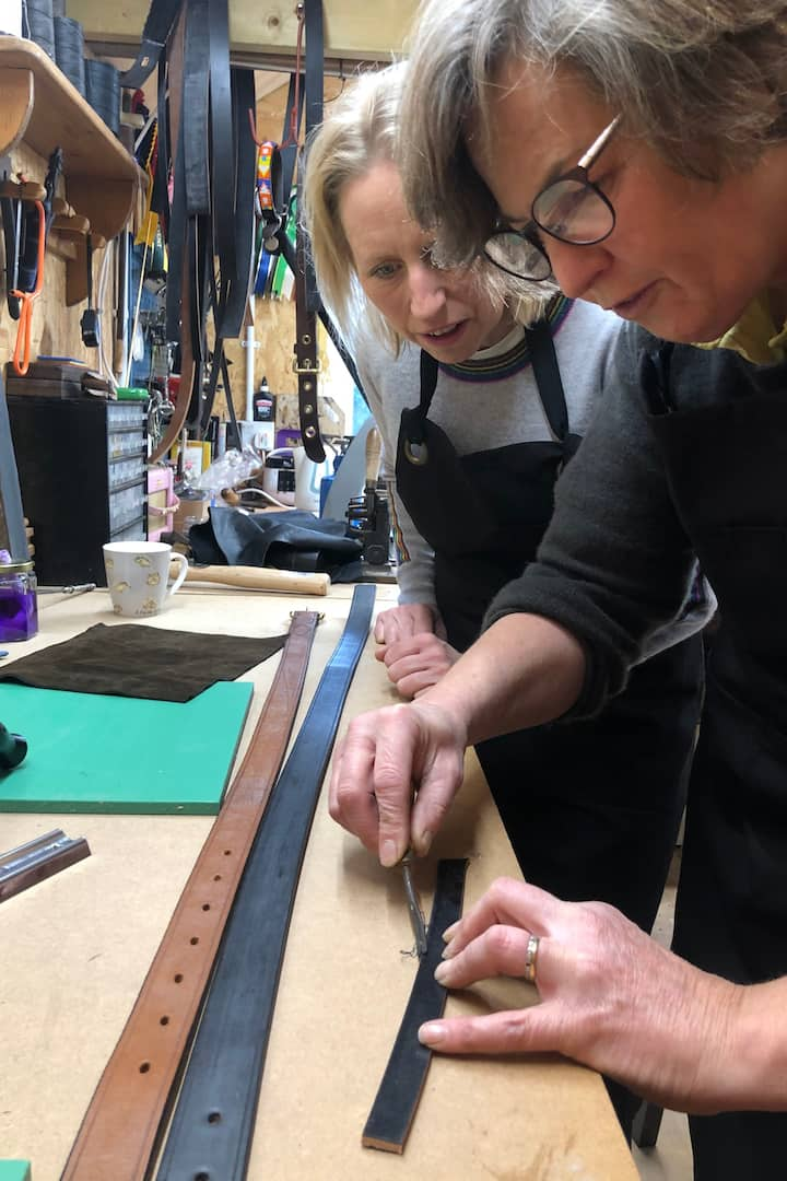 Edging the leather