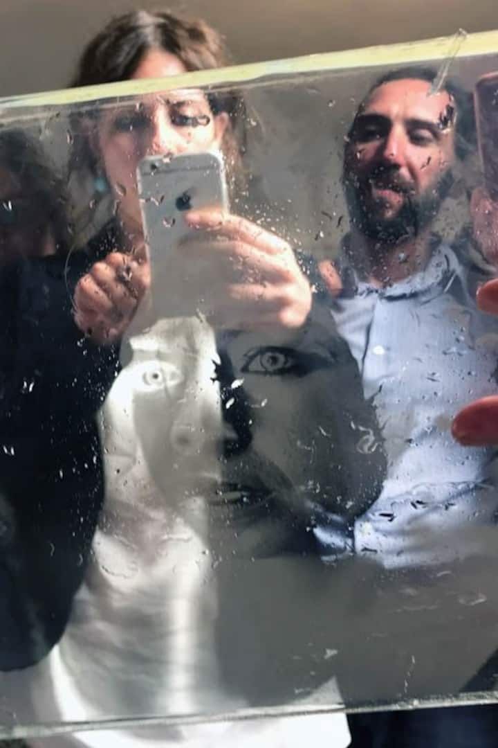 Portrait on glass after fixing