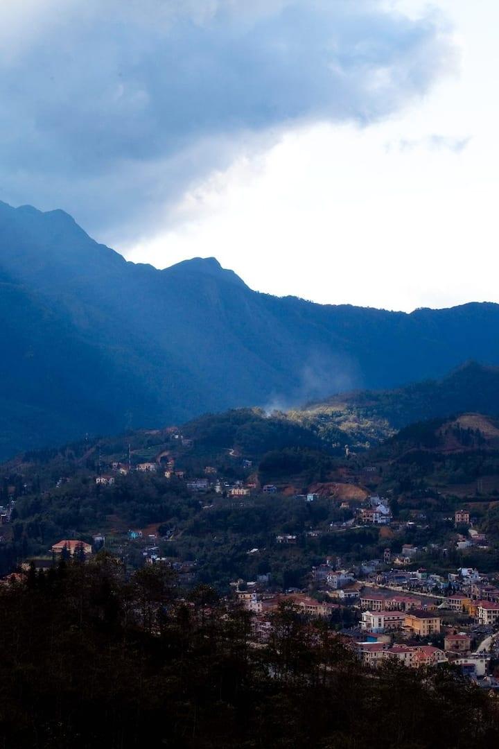 Sapa town from high mountain