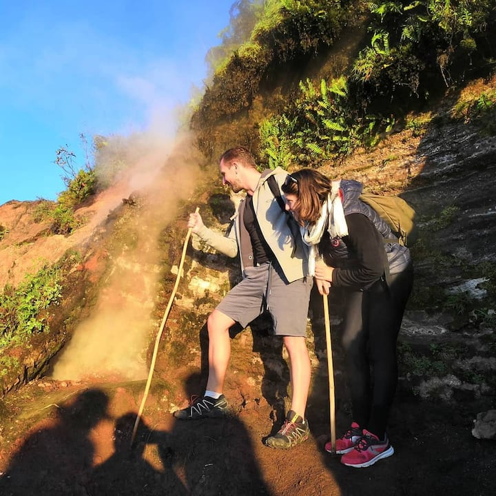 Hot steam volcano batur