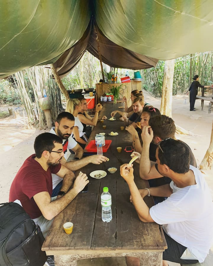 Guests tasting VietCong's snack