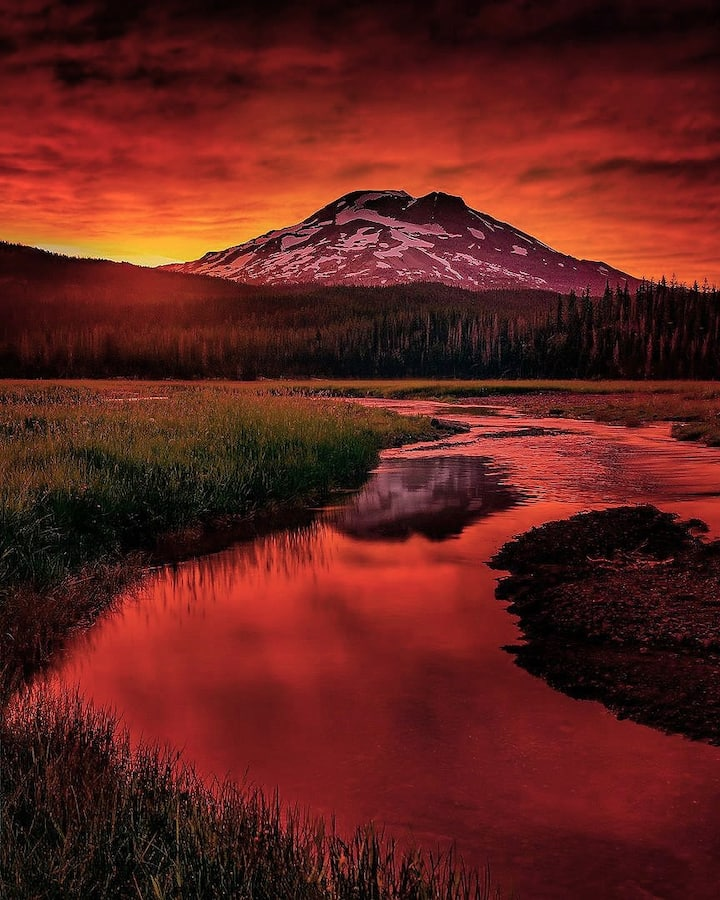 South Sister during a July sunset