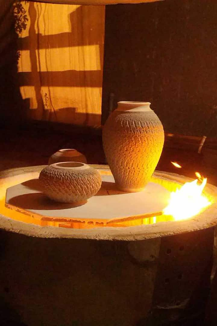Pots ready for firing.