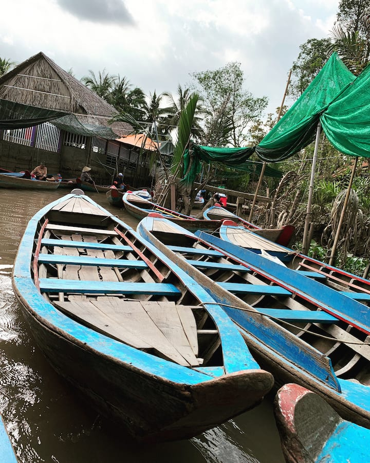 Boat queue in the Mekong River