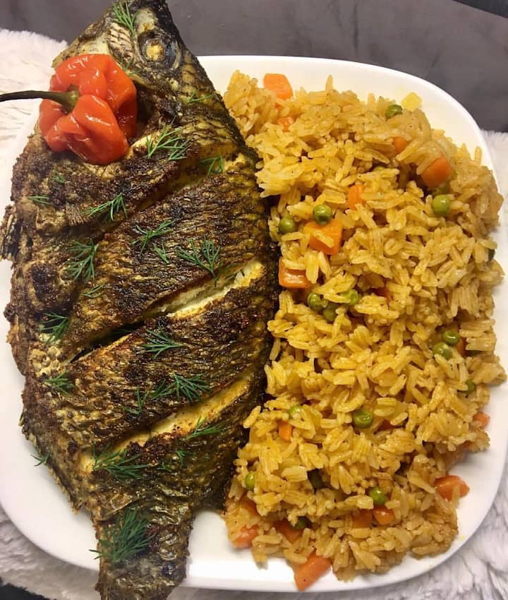 Poisson braiser et riz au gras ( jolof)