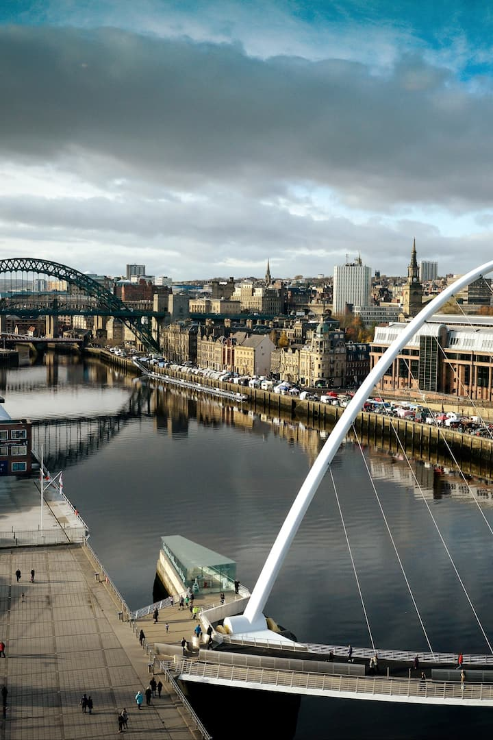 The Millennium Bridge and Tyne Bridge