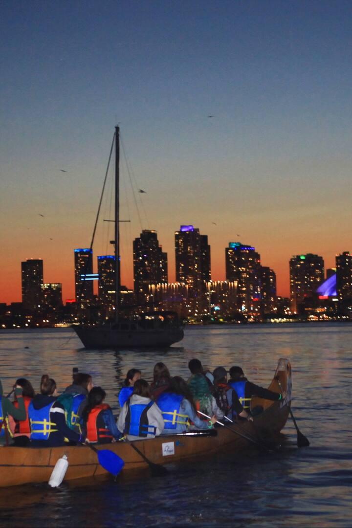 toronto night city skyline view canoeing