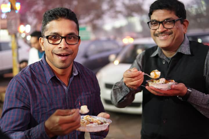 Happy faces after eating Lucknowi Chaat.