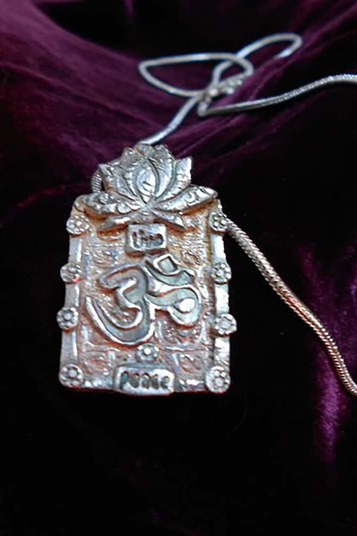 Textured three layer fine silver pendant