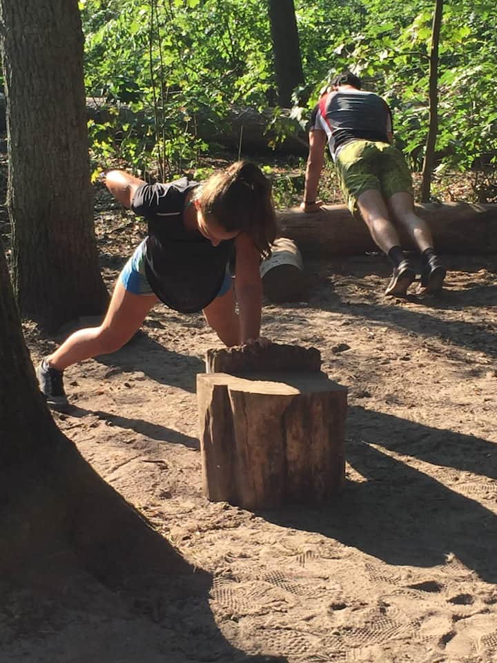 Workout at one parcours in the Wood