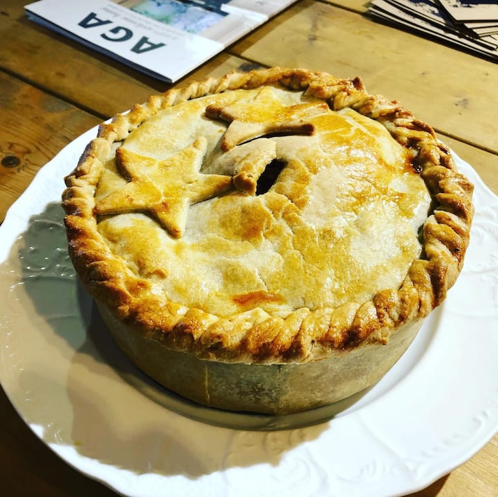 Raised game pie using local ingredients
