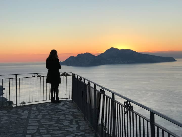 home terrace sunsetting capri