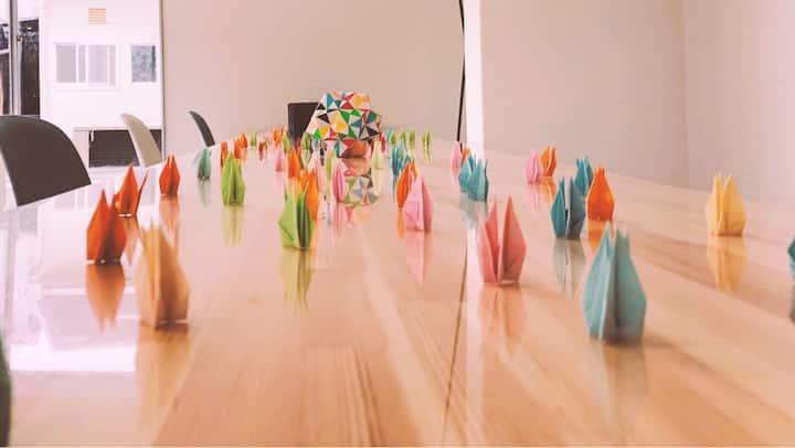 Paper cranes show the peace