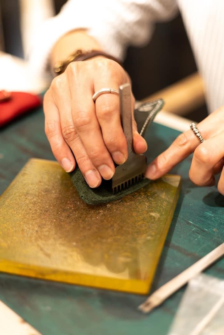 And hand stitch