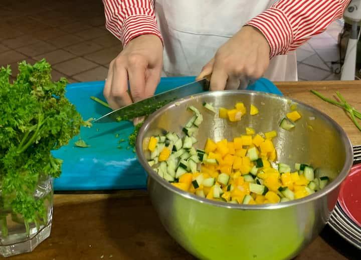 Quinoa, mango, cucumber salad
