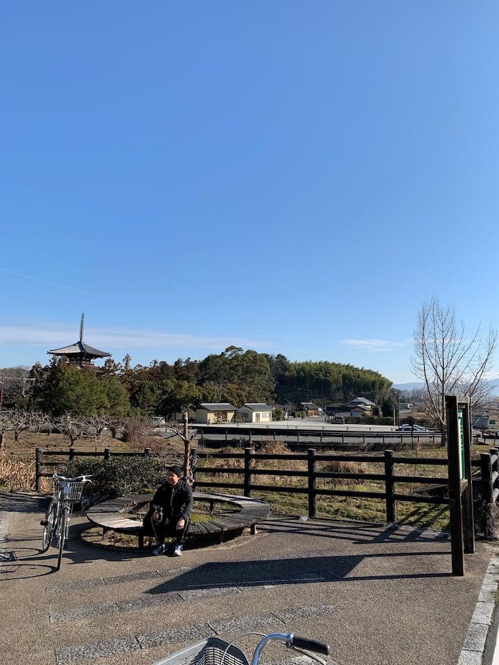 Relaxing near the Horinji Temple
