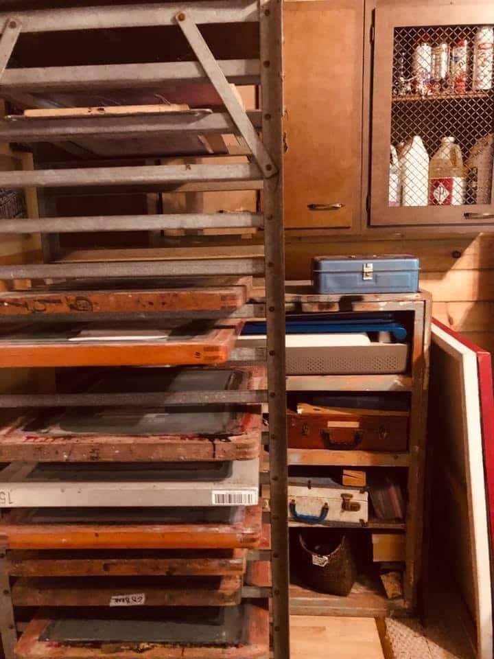 Screen rack in the studio