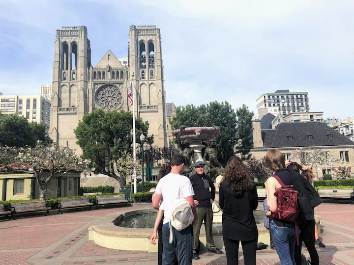 Group in front of Grace Cathedral