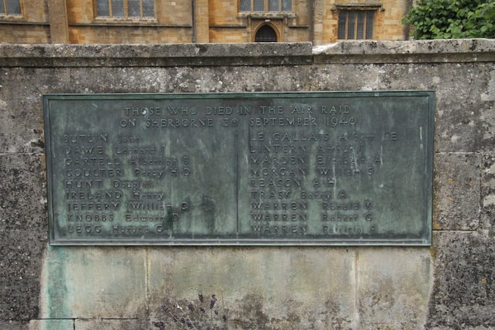 Memorial to Sherborne Bombing victims