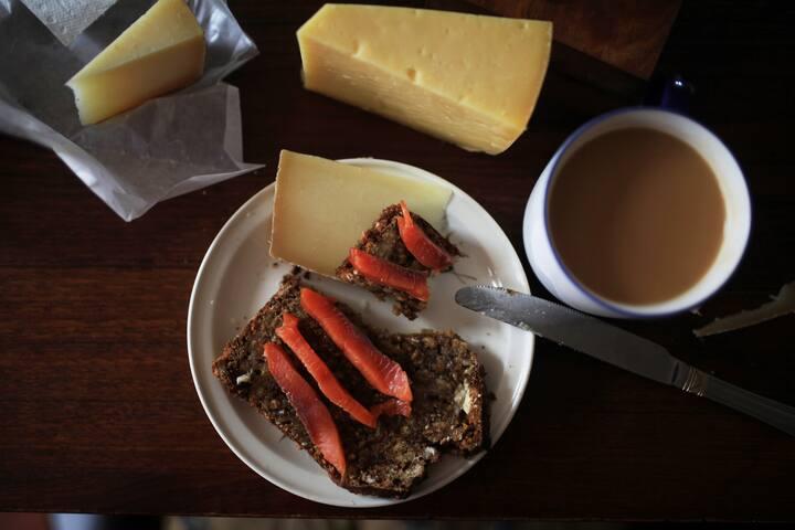 Brown cake, tea and WILD salmon