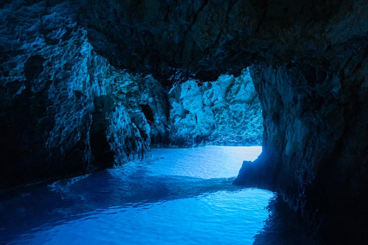 Inside the stunning Blue Cave.