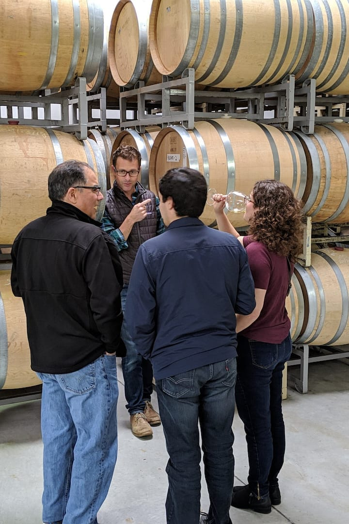 Touring the wine production facility