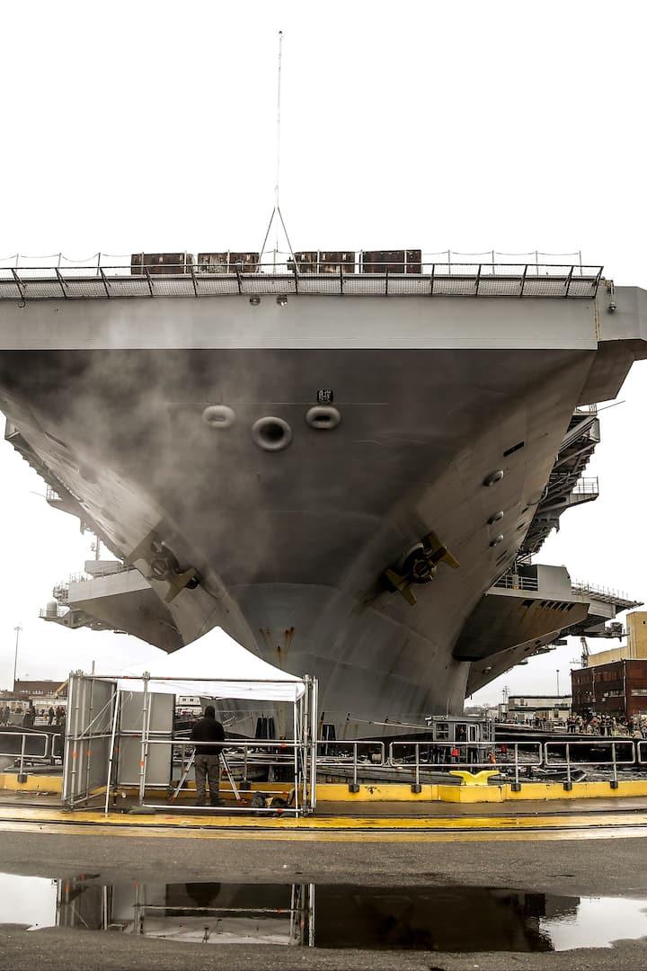 U.S. Navy Carrier in Dry Dock