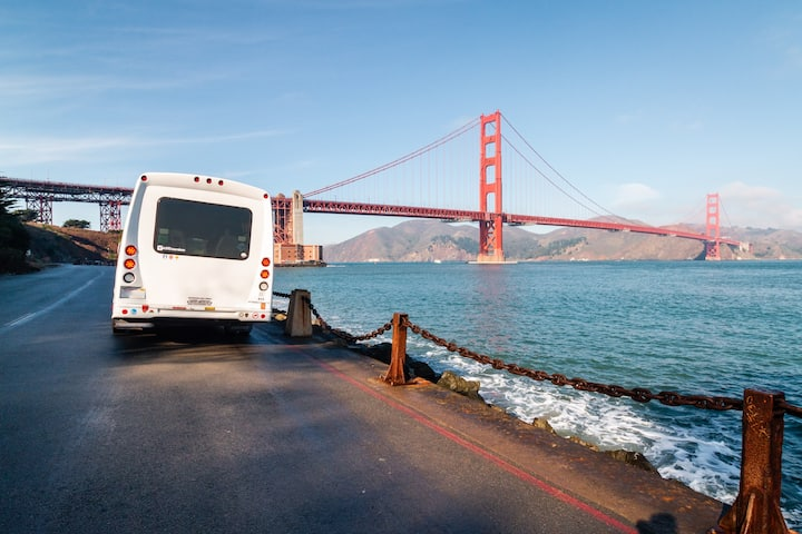 Golden Gate Bridge and the minibus