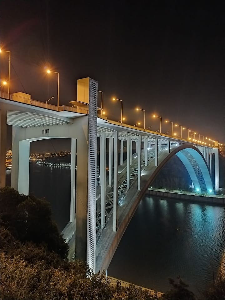 The Arrábida Bridge at night