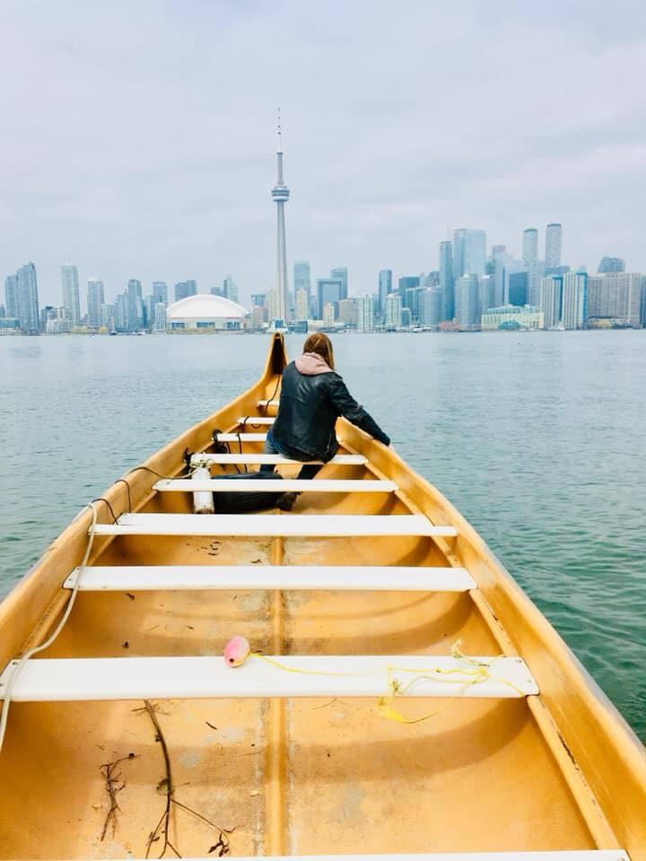 voyageur canoe. canadian heritage.