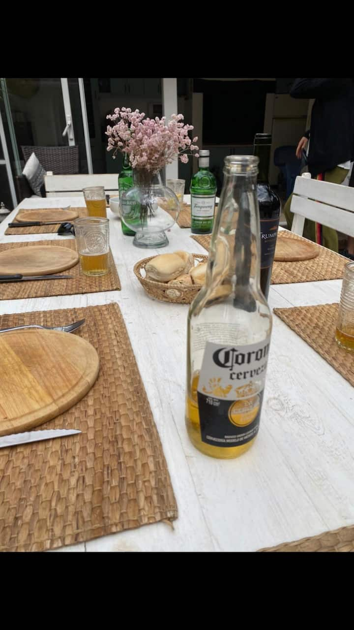 If the weather is nice……..outdoor table!