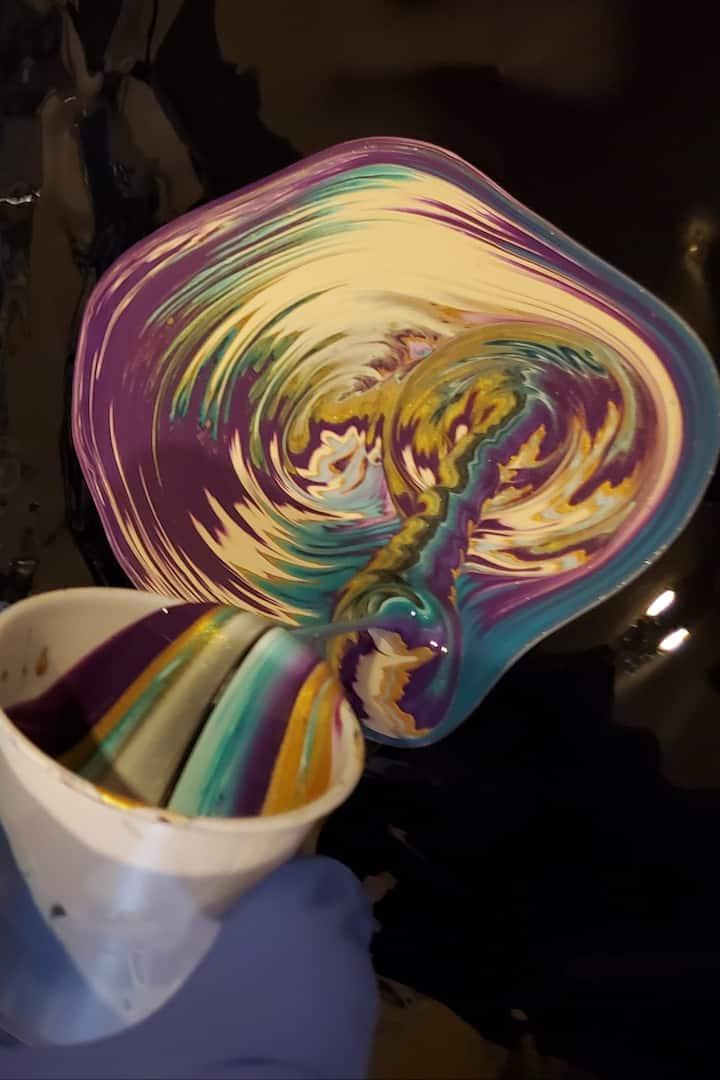 Acrylic paint pour art