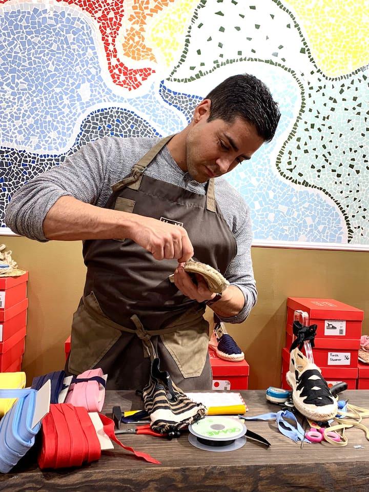 Luis building the soles