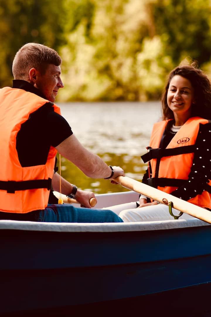 Take a rowboat ride on the lake