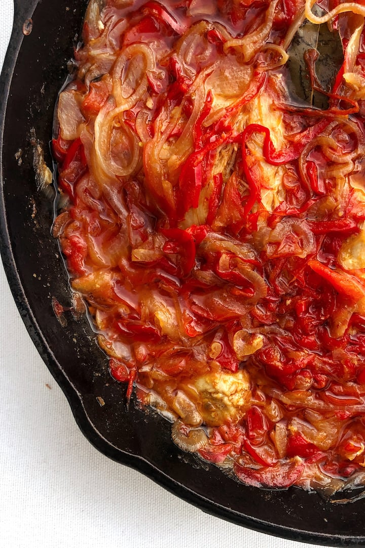 Piperade, cooking in a cast iron skillet